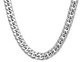 Rhodium Over Sterling Silver Curb Link Chain Necklace 30 inch 4.5mm