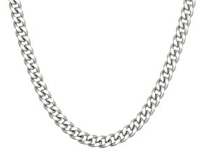 Rhodium Over Sterling Silver Curb Link Chain Necklace 16 inch 2.5mm