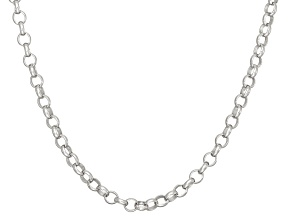 Rhodium Over Sterling Silver Rolo Link Chain Necklace 20 inch