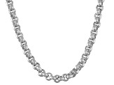 Rhodium Over Sterling Silver Rolo Link Chain Necklace 16 inch 4mm