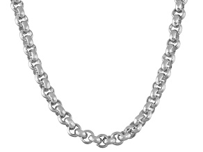 Rhodium Over Sterling Silver Rolo Link Chain Necklace 20 inch 4mm