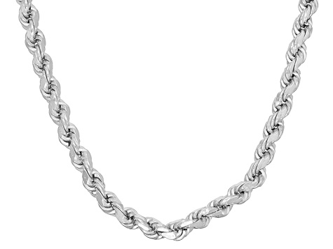 Rhodium Over Sterling Silver Rope Link Chain Necklace 24 inch