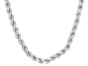 Rhodium Over Sterling Silver Rope Link Chain Necklace 30 inch