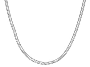 Rhodium Over Sterling Silver Round Snake Link Chain Necklace 16 inch