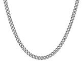Rhodium Over Sterling Silver Curb Link Chain Necklace 18 inch 2.5mm