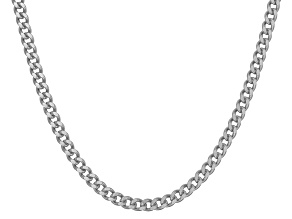 Rhodium Over Sterling Silver Curb Link Chain Necklace 20 inch 2.5mm