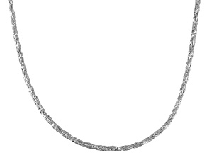 Rhodium Over Sterling Silver Foxtail Link Chain Necklace 24 inch