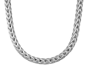 Rhodium Over Sterling Silver Foxtail Link Chain Necklace 20 inch 3.5mm
