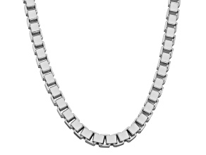 Rhodium Over Sterling Silver Box Link Chain Necklace 24 inch 3.5mm
