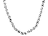 Rhodium Over Sterling Silver Rope Link Chain Necklace 30 inch 3.5mm