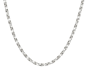 Rhodium Over Sterling Silver Box Link Chain Necklace 20 inch