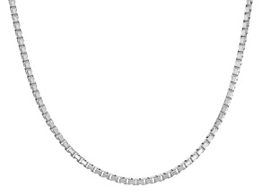 Rhodium Over Sterling Silver Box Link Chain Necklace 18 inch