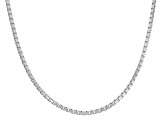 Rhodium Over Sterling Silver Box Link Chain Necklace 16 inch