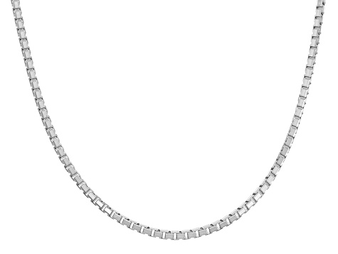 Rhodium Over Sterling Silver Box Link Chain Necklace 24 inch