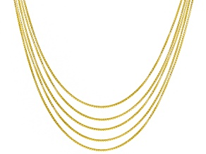 18k Yellow Gold Over Sterling Silver Box Link Chain Set 18 inch .5mm