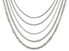 Sterling Silver Multi-Link Chain Set Of 5 18 inch