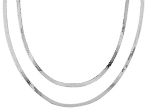 Sterling Silver Herringbone Link Chain Necklace Set Of Two 18 inch 20 inch