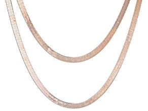 18K Rose Gold Over Sterling Silver Set of 2 Diamond-Cut Herringbone 18 and 20 Inch Chains