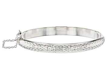 Picture of Sterling Silver Diamond Cut Hinged Bangle Bracelet
