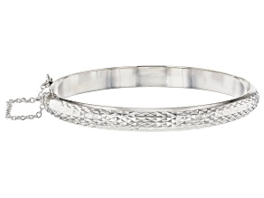 Sterling Silver Diamond Cut Hinged Bangle Bracelet