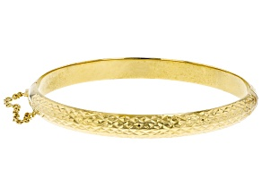18K Yellow Gold Over Sterling Silver Diamond Cut Hinged Bangle Bracelet