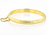 18k Yellow Gold Over Silver Diamond Cut Hinged Bangle Bracelet 7 inch