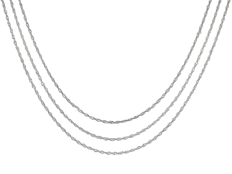Sterling Silver Rope Link Chain Necklace Set Of Three 24 inch