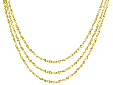18k Yellow Gold Over Silver Rope Link Chain Necklace Set Of Three 24 inch