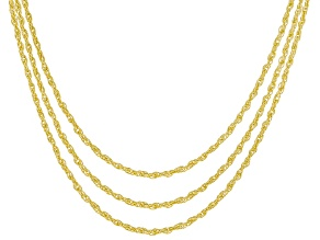 18K Yellow Gold Over Silver Set Of Three Sliding Adjustable 1MM Rope Chain