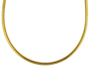 18k Yellow Gold Over Sterling Silver Omega Link Chain Necklace 18 inch 4mm