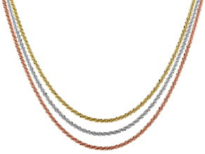 Rhodium Over & 18k Yellow Gold & 18k Rose Gold Over Sterling Silver Chain Set Of 3