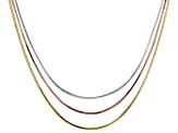 18k Yellow Gold & 18k Rose Gold & Rhodium Over Silver Snake Link Necklace Set Of 3