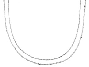 Sterling Silver Criss Cross & Wheat Sliding Adjustable 24 inch Chain Set Of Two