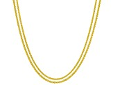 18k Yellow Gold Over Silver Criss Cross & Wheat Sliding Adjustable Chain Set