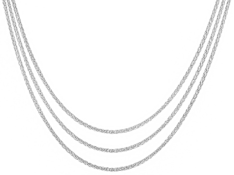 Sterling Silver Wheat Link Sliding Adjustable Chain Set Of Three 24 inch
