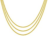 18k Yellow Gold Over Sterling Silver Wheat Link Sliding Adjustable Chain Set