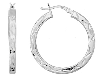 Picture of Sterling Silver Tube Hoop Earrings