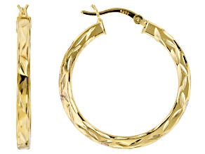18k Yellow Gold Over Sterling Silver Diamond Cut Squared Tube Hoop Earrings