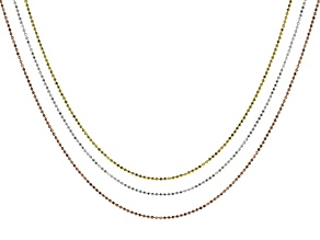 Silver 14k Yellow Gold Over & 14k Rose Gold Over Silver Bead Link Chain Set Of 3