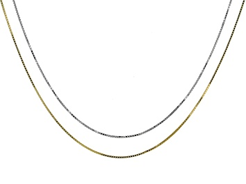 Picture of Sterling Silver & 14k Yellow Gold Over Silver Box Link Sliding Adjustable Chain Set Of 2
