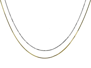 Sterling Silver & 14k Yellow Gold Over Silver Box Link Sliding Adjustable Chain Set Of 2