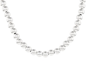 Sterling Silver Bead Link Necklace 20 inch 6mm