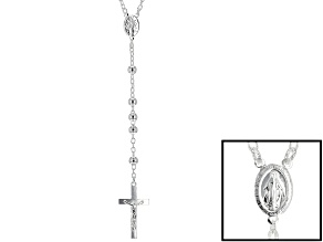 Sterling Silver Rosary Bead Necklace 24 inch 6mm