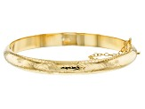 18k Yellow Gold Over Sterling Silver Diamond Cut Bangle Bracelet 7 inch