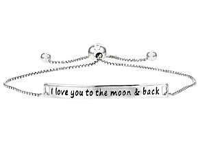 "Sterling Silver Script Sliding Adjustable Bracelet ""I Love You To The Moon And Back"""