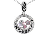 Sterling Silver Mother Daughter Charm Pendant With Swarovski Elements