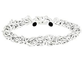 1.0ctw Black Onyx Sterling Silver Byzantine Bracelet 8 inch