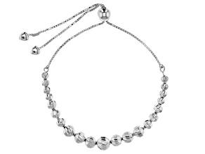 Sterling Silver Bead Station Sliding Adjustable Bracelet