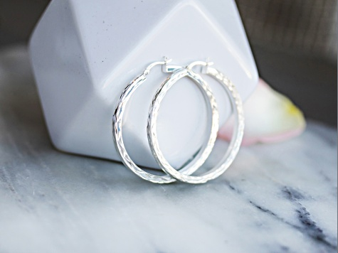 Sterling Silver Tube Hoop Earrings