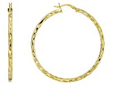 18k Yellow Gold Over Sterling Silver Diamond Cut Hoop Earrings